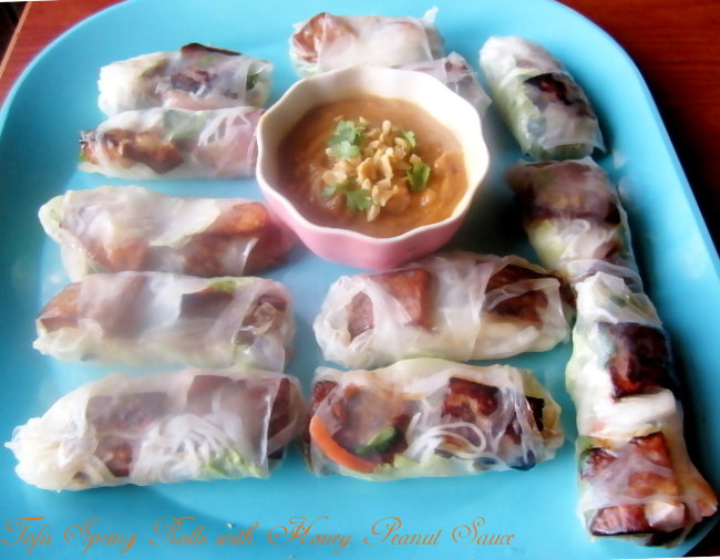 Tofu Vegetarian Spring Rolls with Honey Peanut Dipping Sauce ...