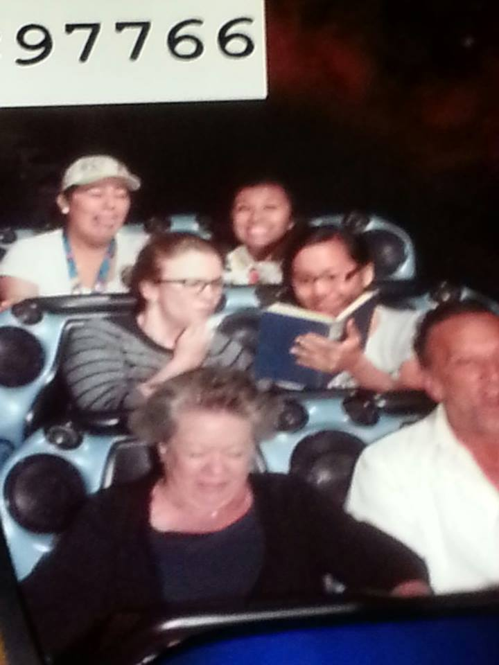 Ellen and Alethia Studying at Disneyland Space Mountain