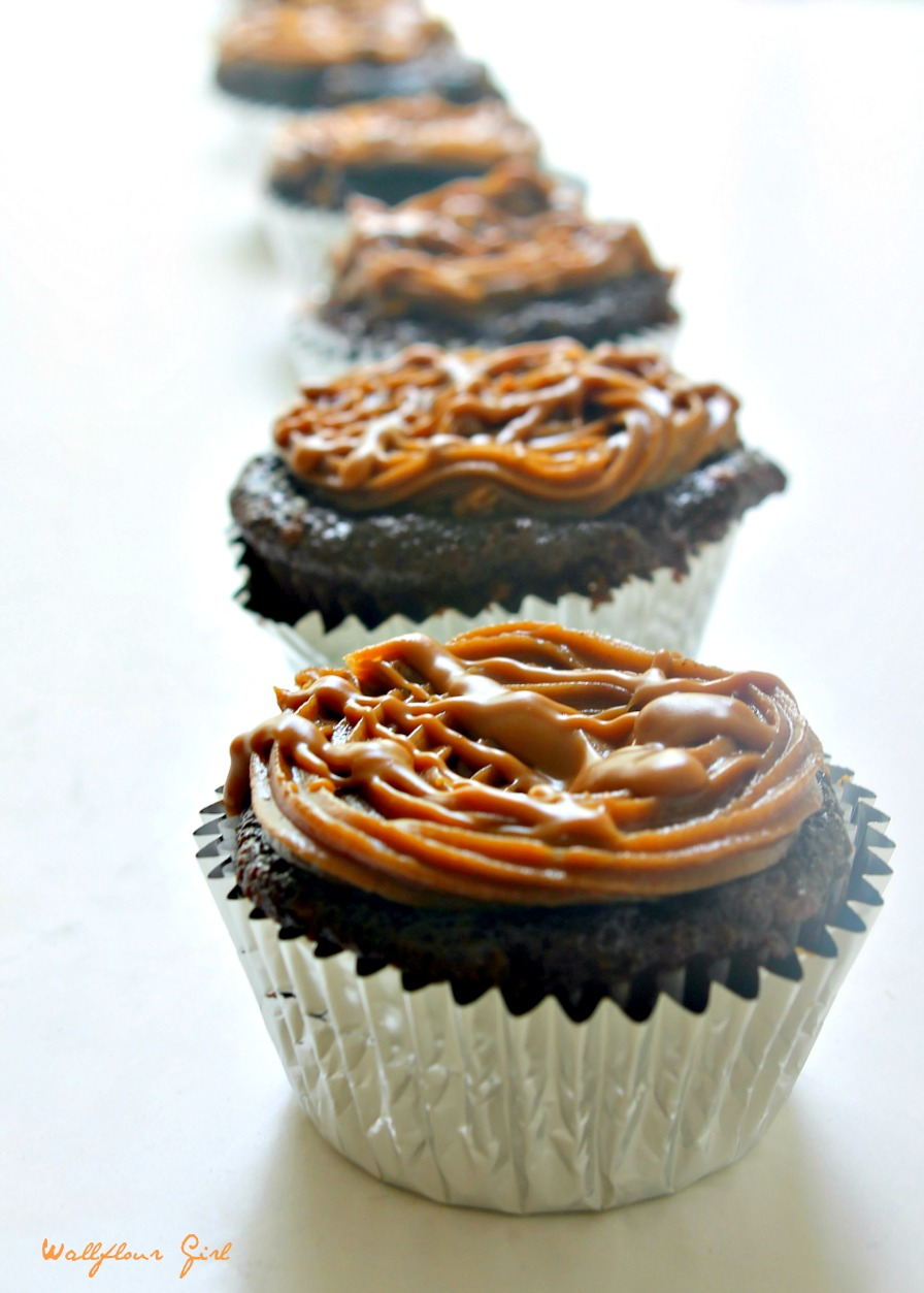 ... Cheesecake Stuffed Chocolate Cupcakes with Kahlua Biscoff Frosting