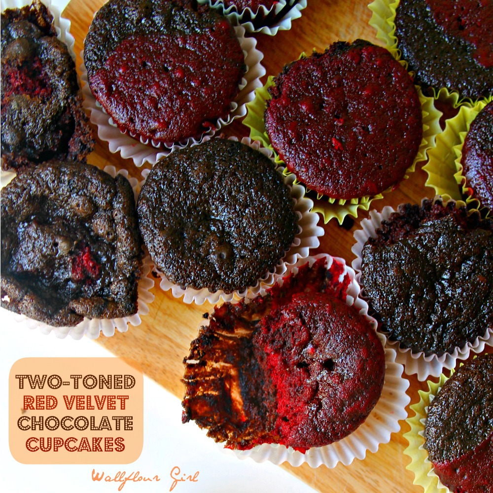 Two-Toned Red Velvet Chocolate Cupcakes with Cream Cheese Frosting 5--051614